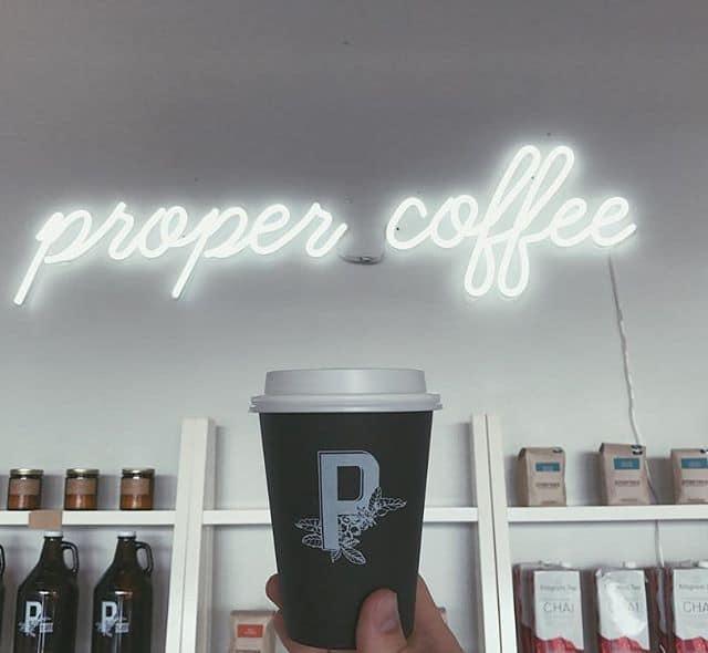 proper coffee neon sign
