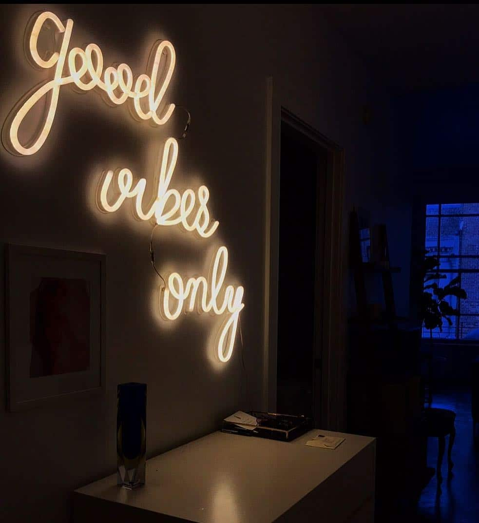 good vibes only taggered neon sign