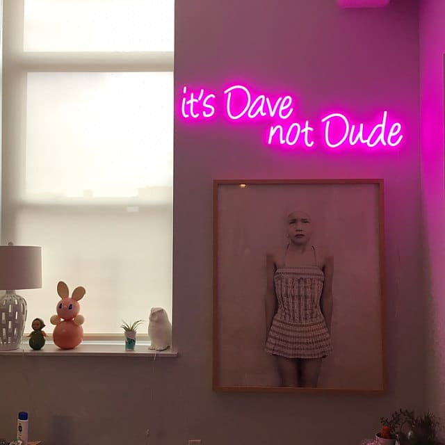 it's dave not dude neon sign