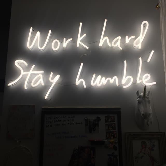 work hard stay humble neon sign