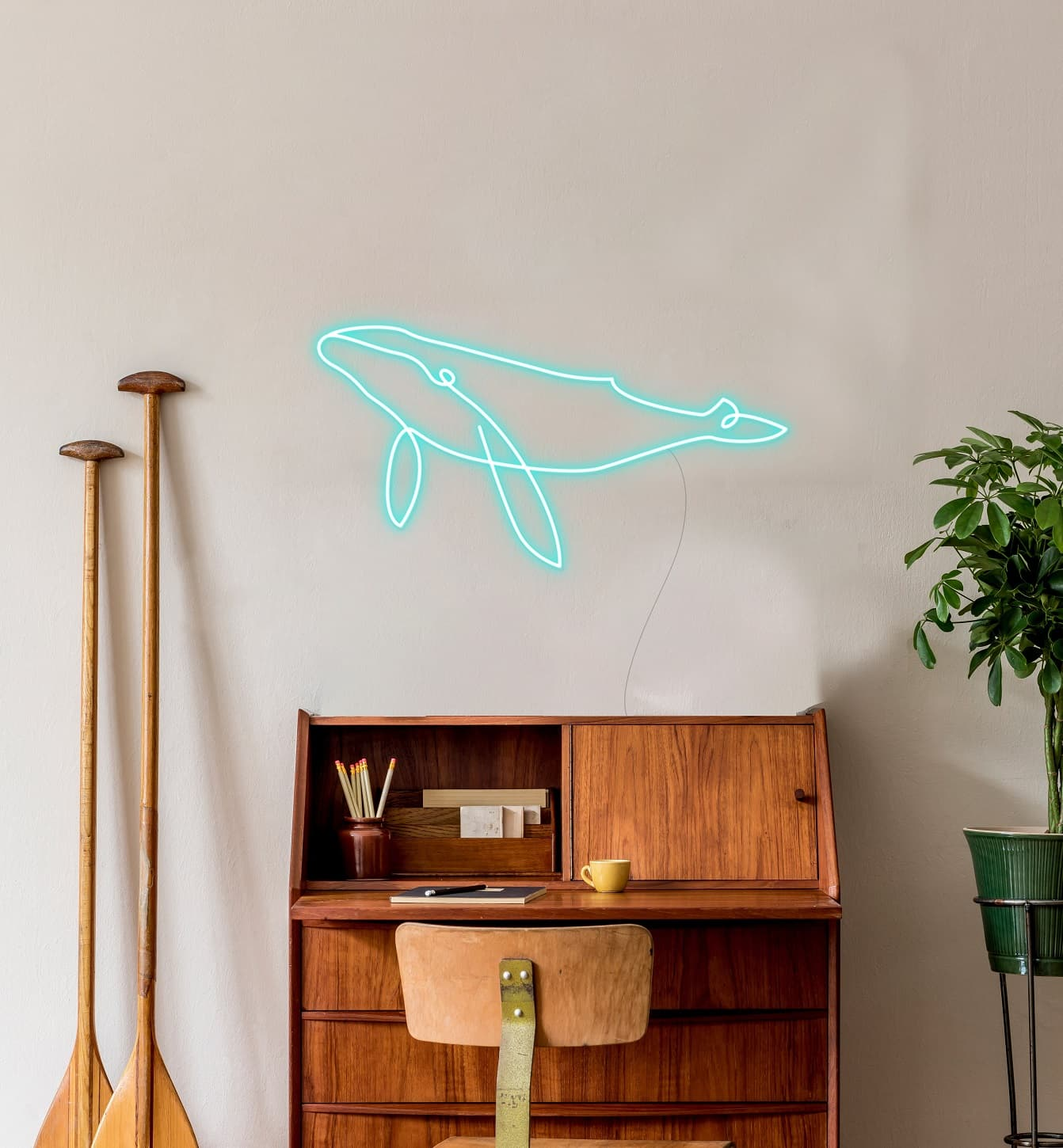whale neon sign