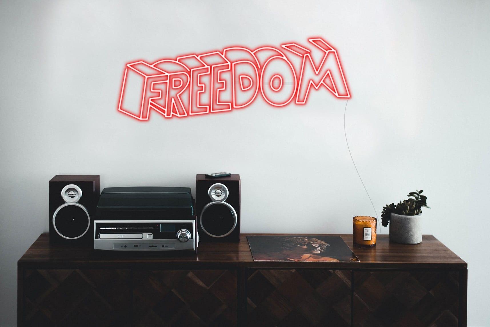 freedom neon sign
