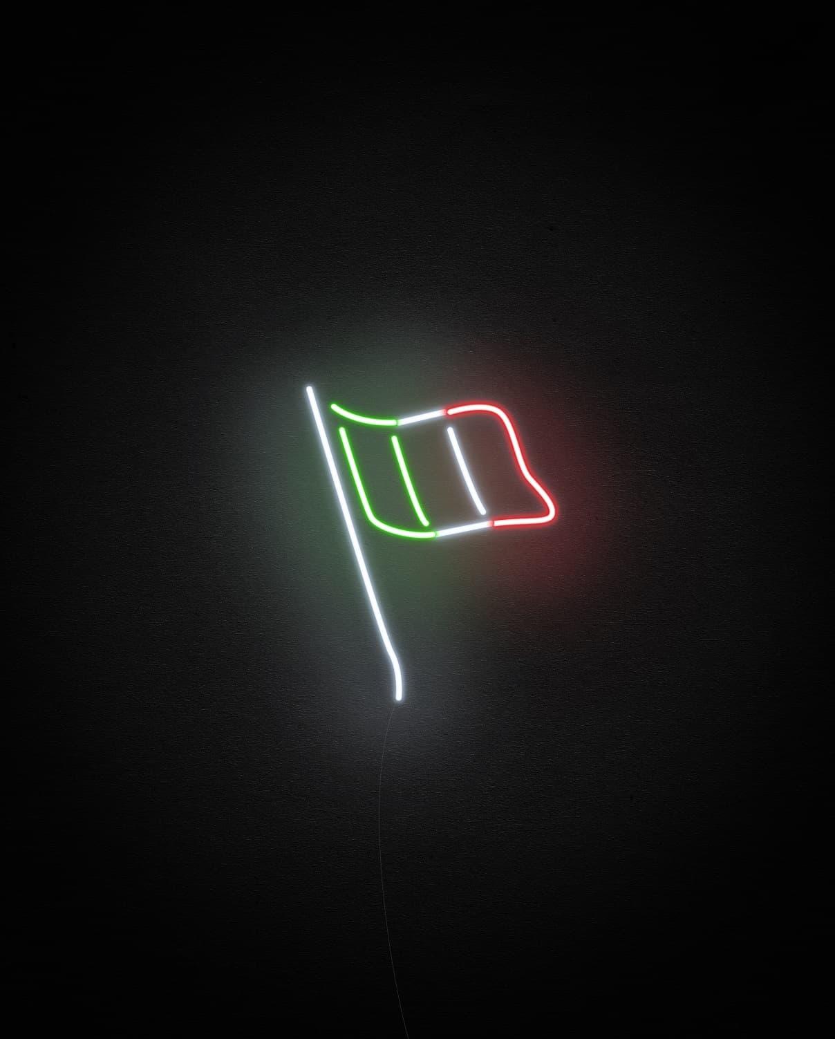 italy flag neon light