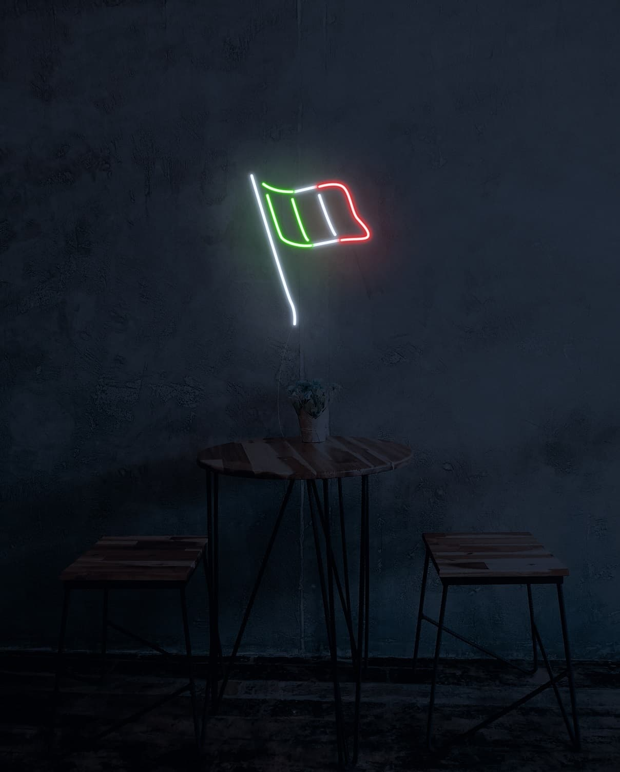 italy flag neon signs