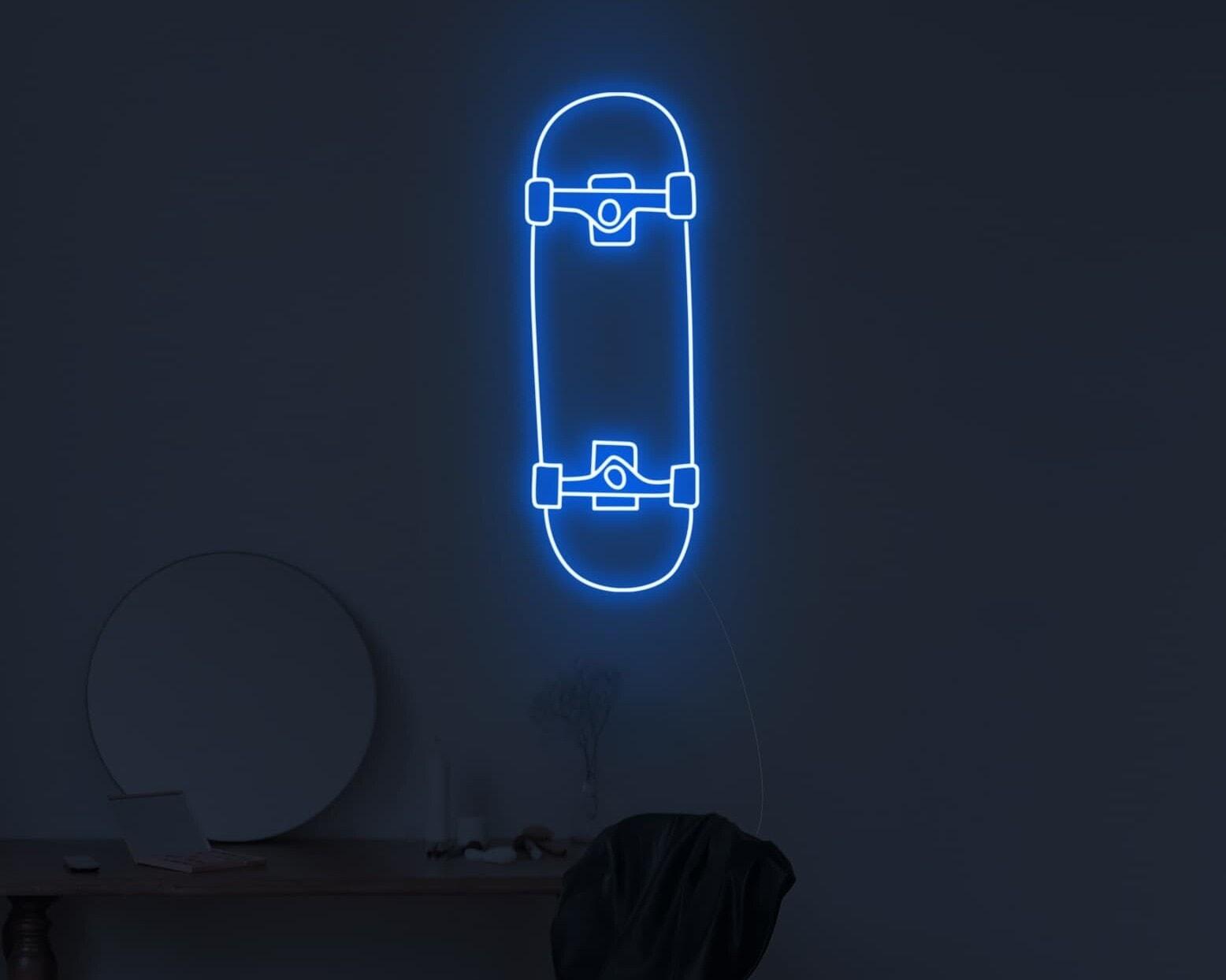 skateboard neon sign