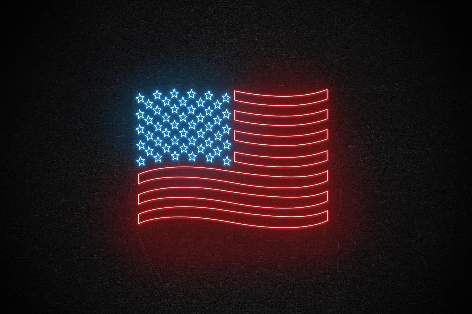 USA flag neon light