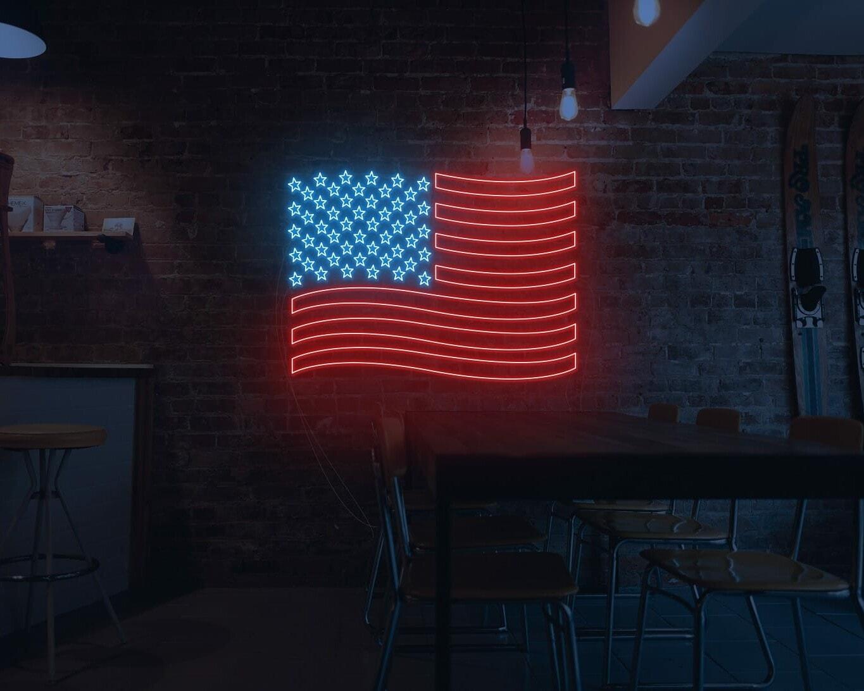 USA flag neon sign