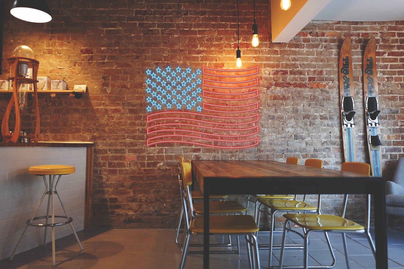 USA flag neon signs