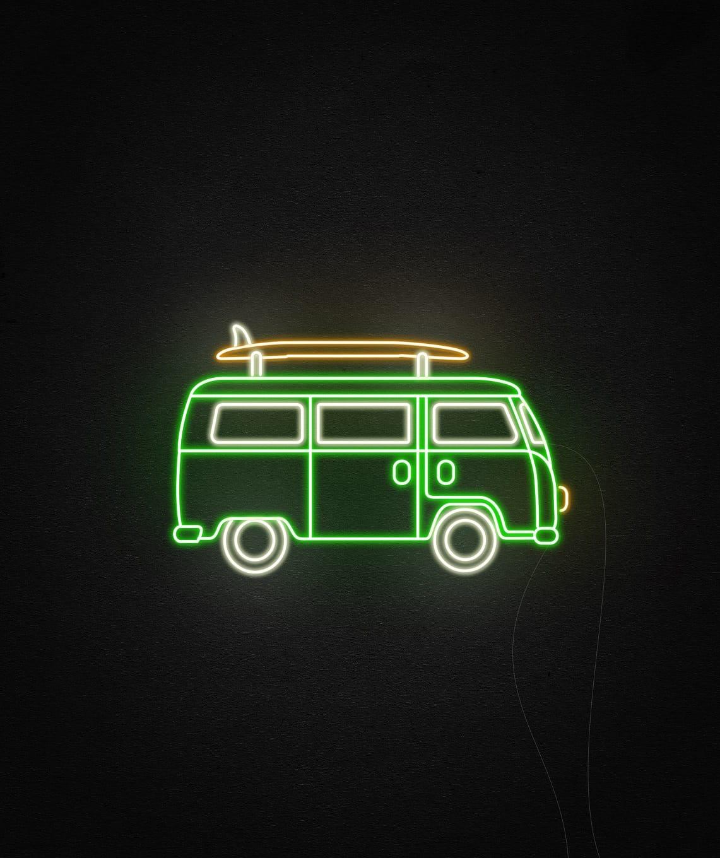 beach van neon light