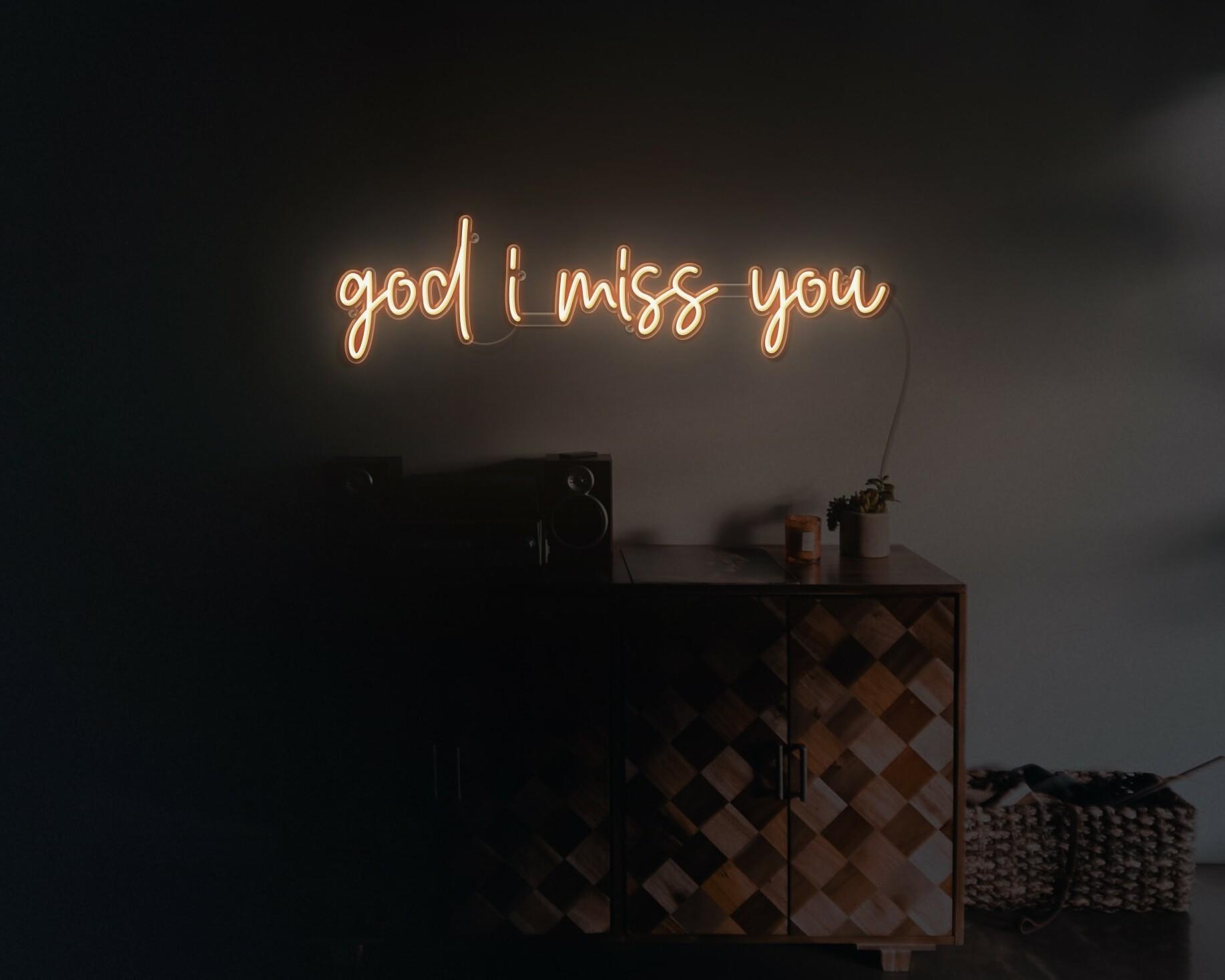 god i miss you neon light