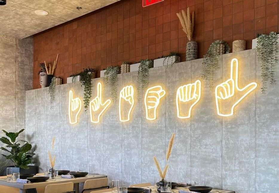 hand sign neon sign