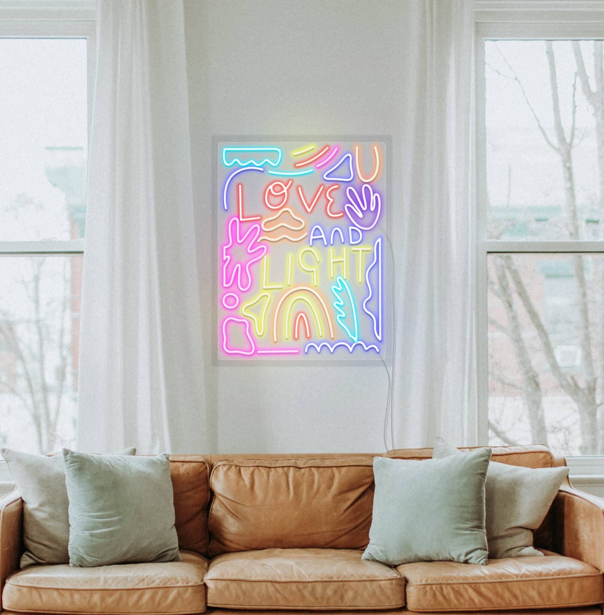 love and light neon sign