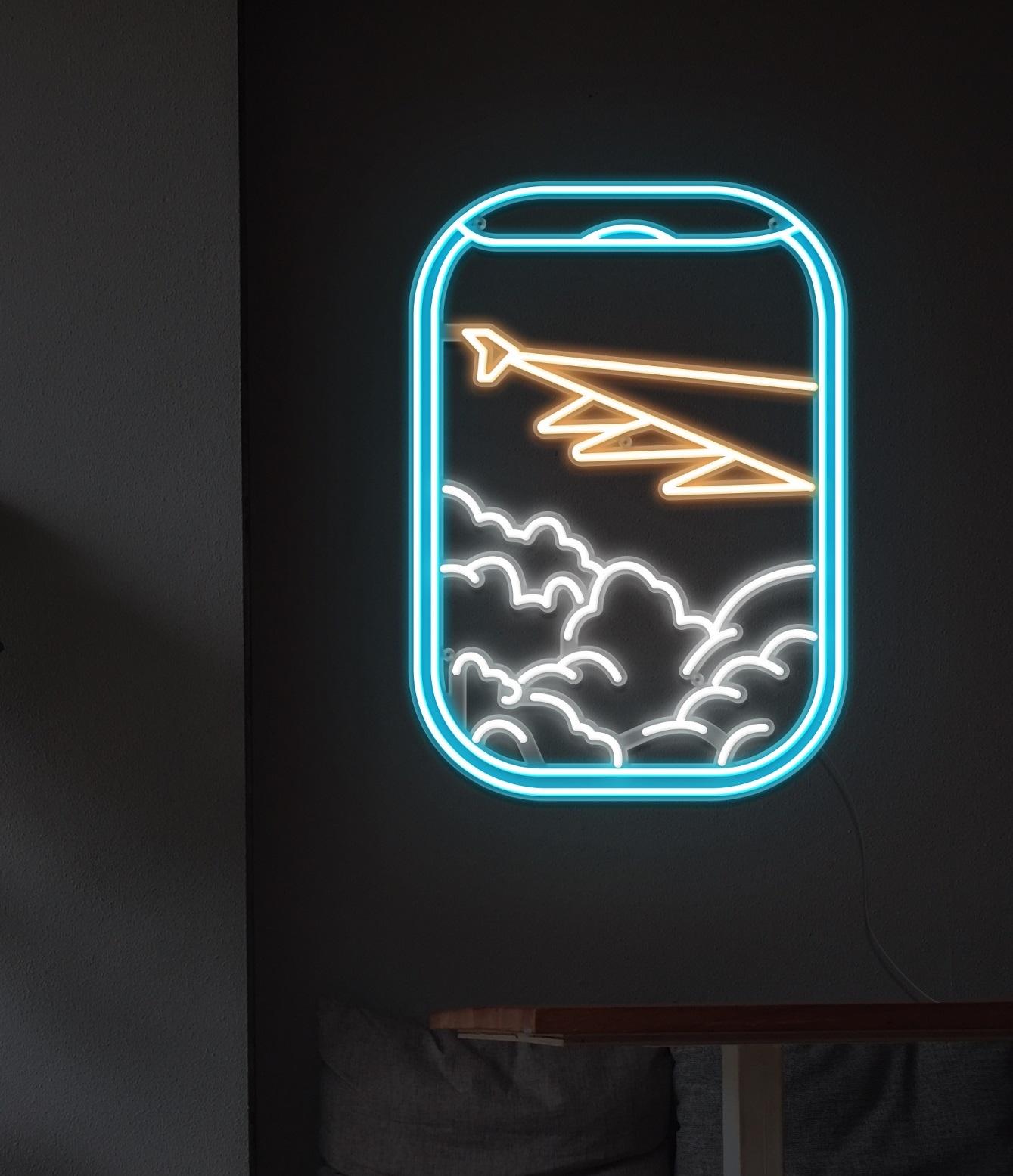 plane view neon light
