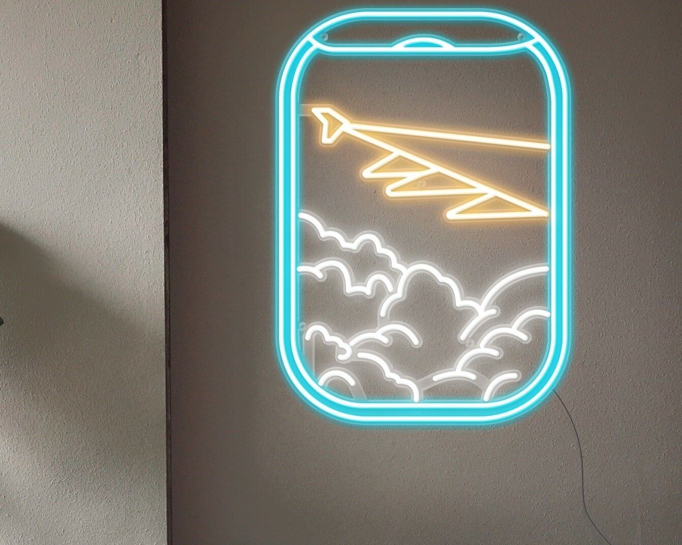 plane view neon sign