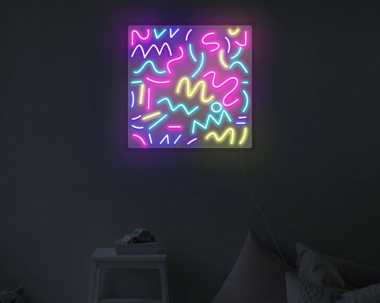 rainbow sprinkles neon light