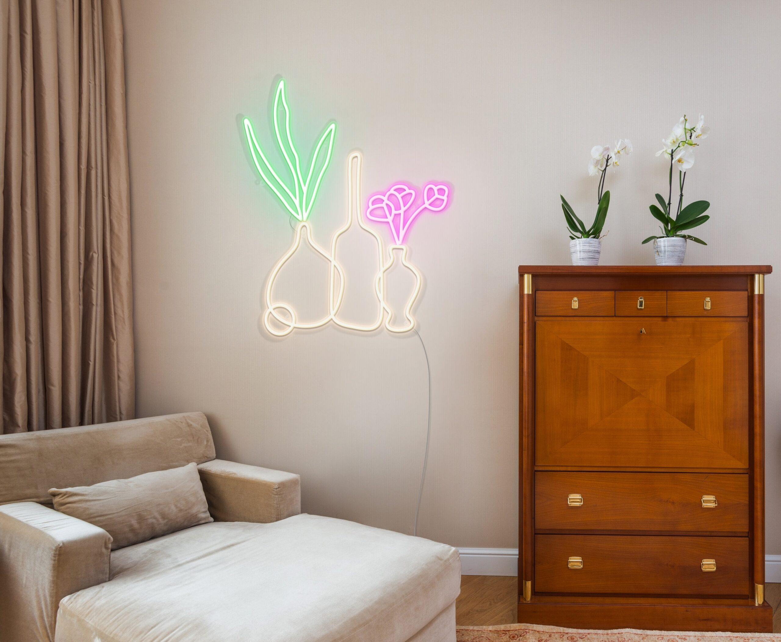 vases neon light