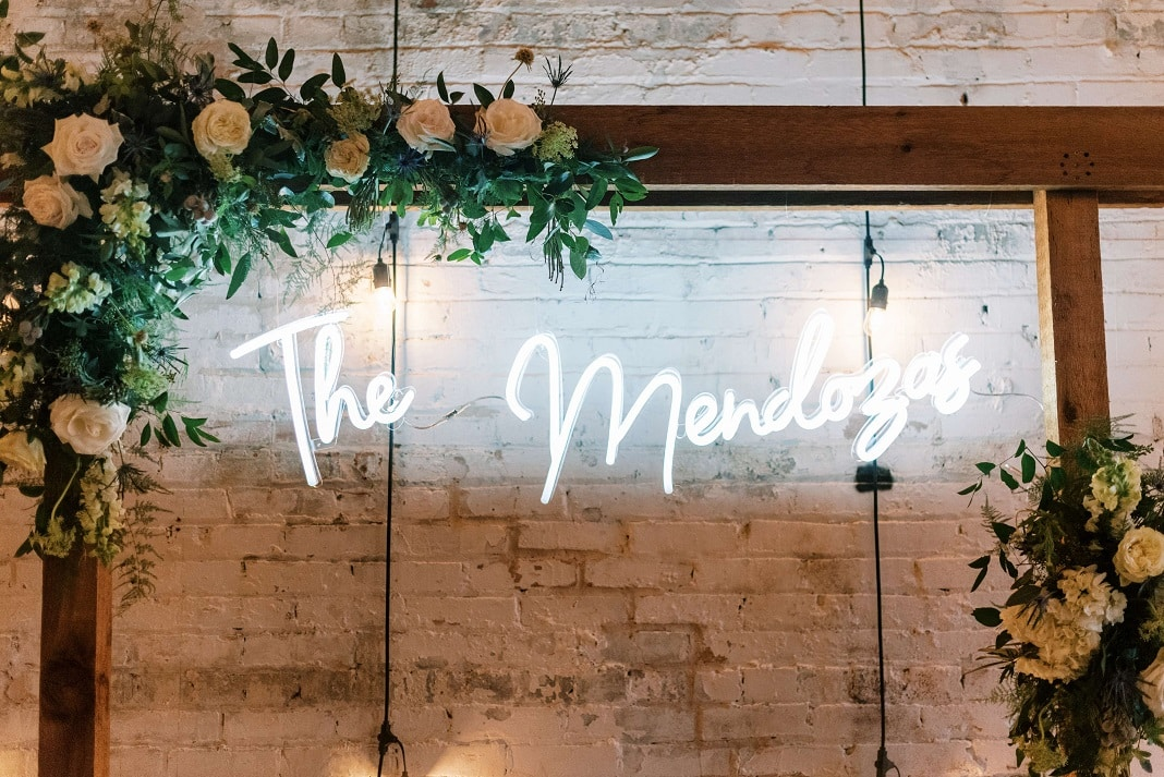 wedding sign on arch