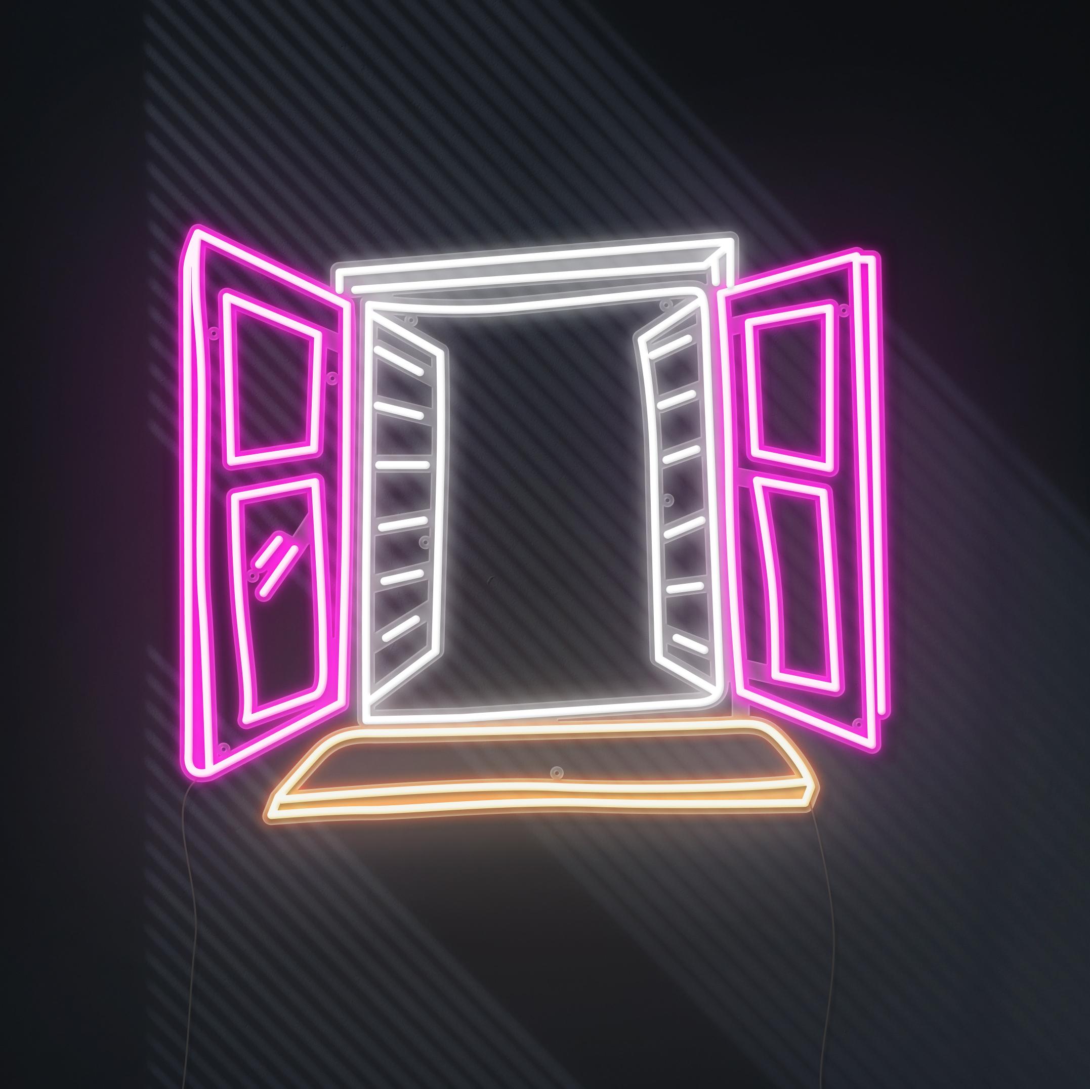 window view neon light