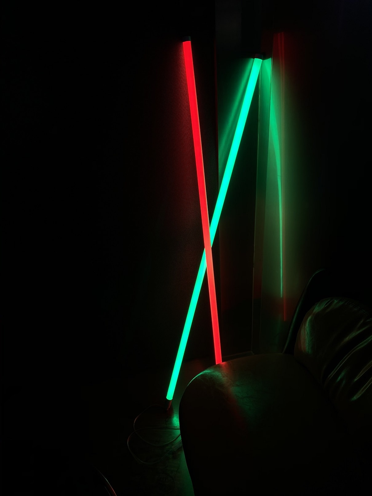 green and red neon lamps