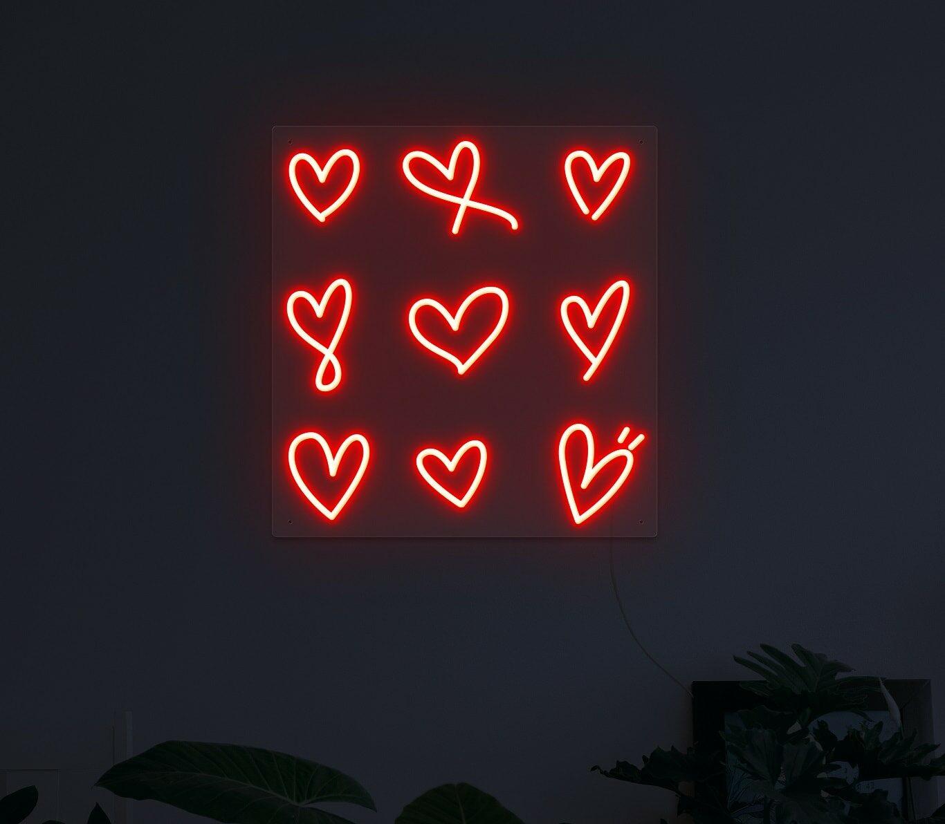 Hearts neon light