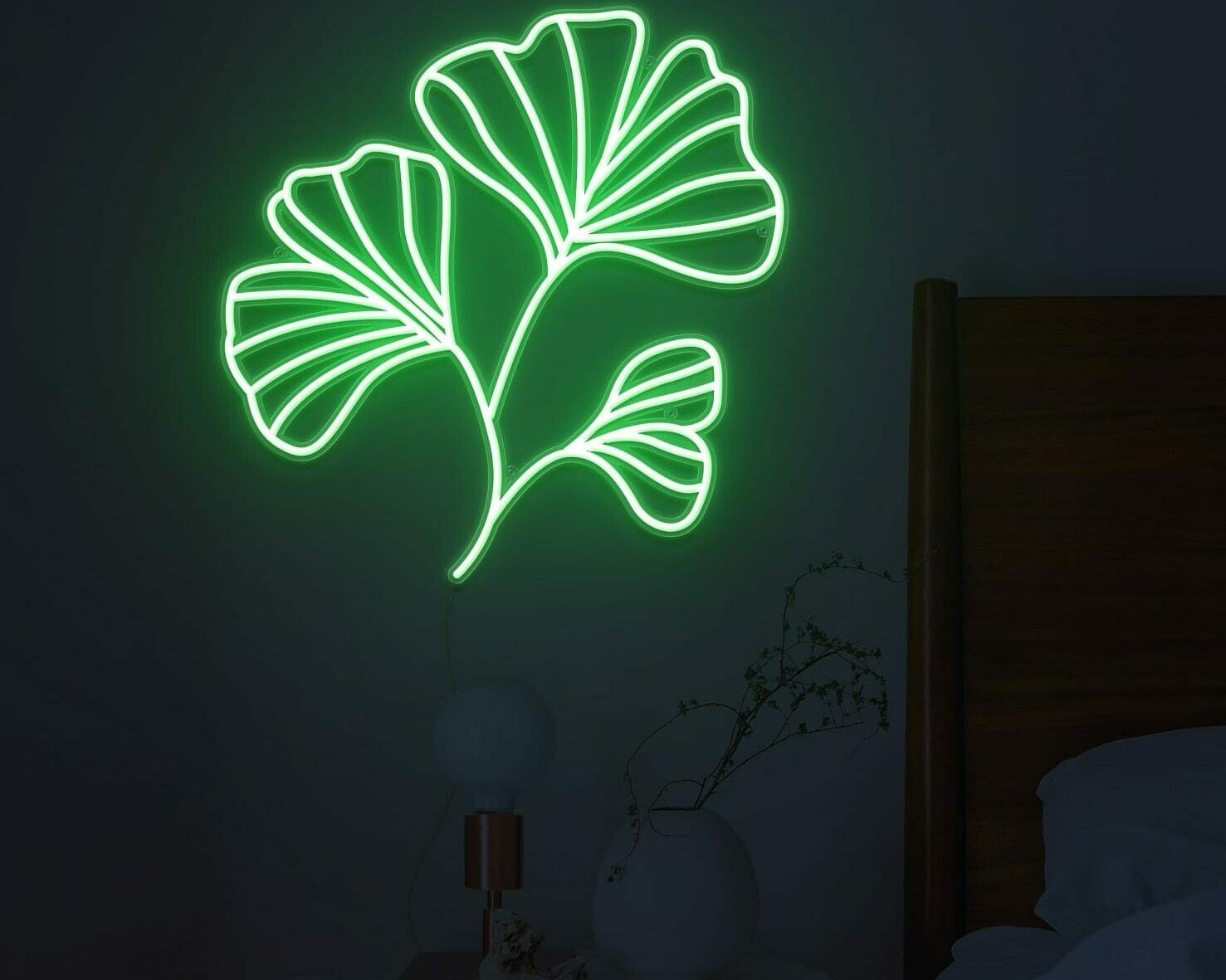 Ginkgo Leaves neon light
