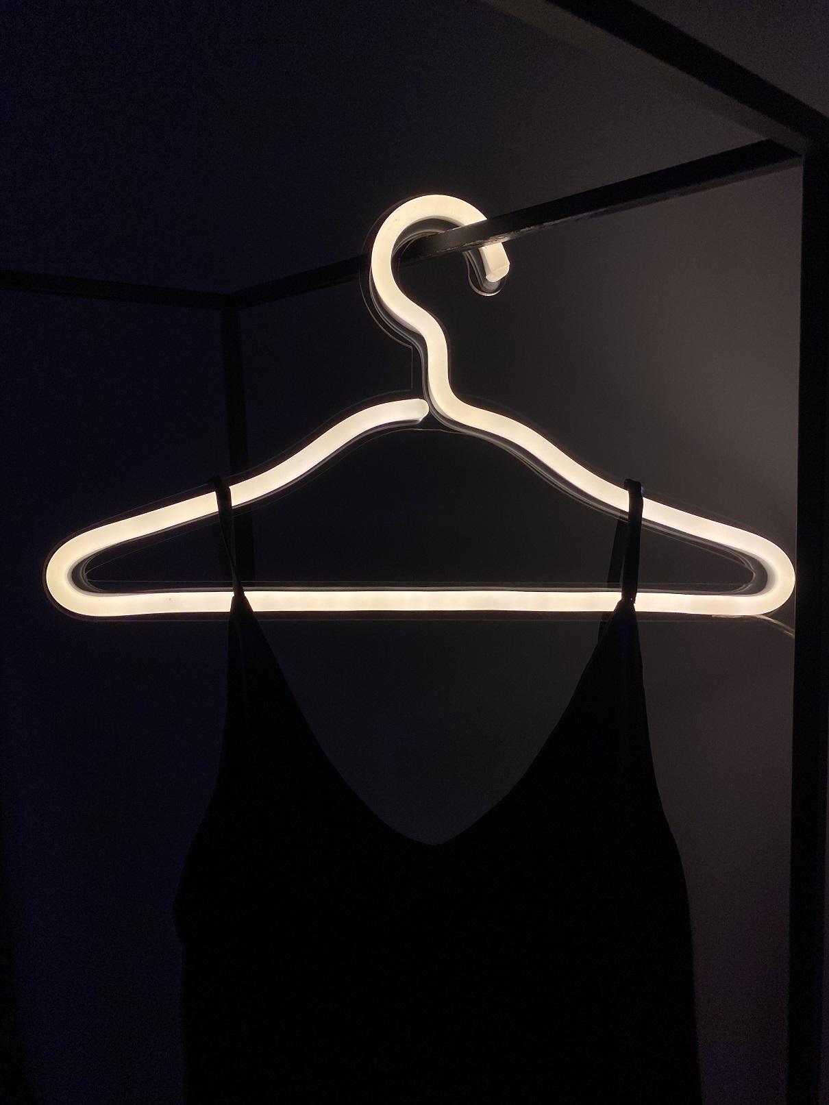 dress hanger neon sign