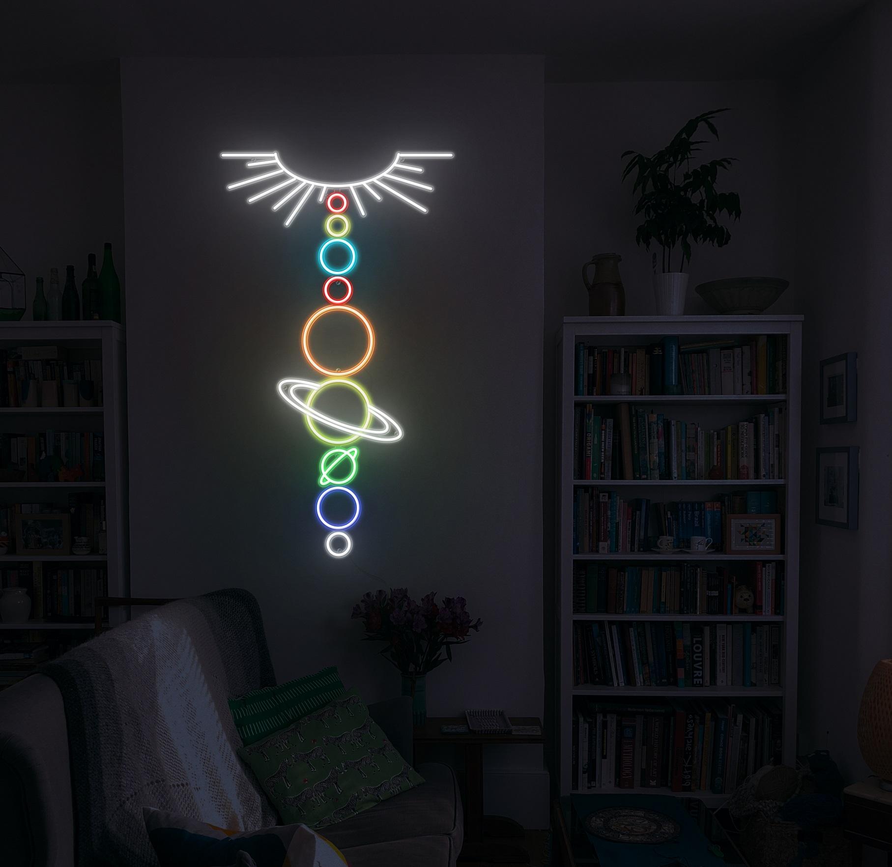 solar system neon light