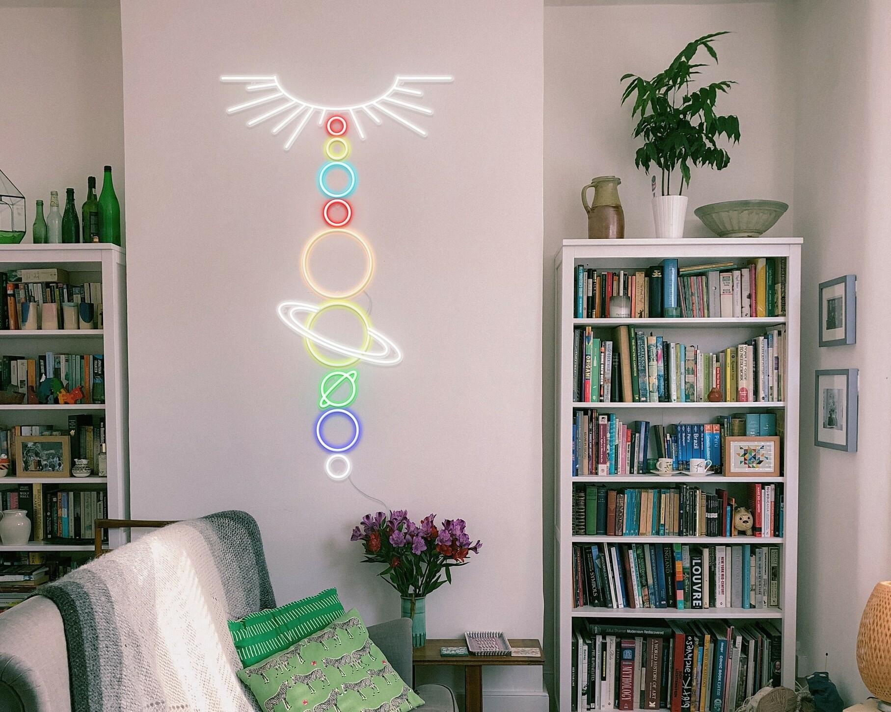 solar system neon sign